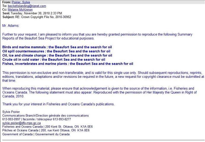 Permission to Reprint Beaufort Sea Project Summaries